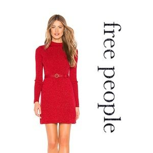 Free People • French Girl Red Sparkle Mini Dress